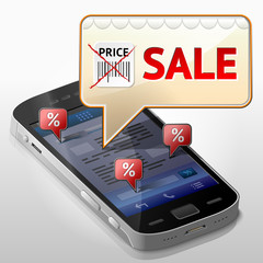 Smartphone with message bubble about sale pop up over screen