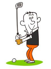 若い男性 ゴルフ