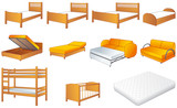 Bedroom furniture set, beds, sofa, vector