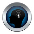 button with the silhouette of the head with a light bulb