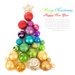 canvas print picture - Christmas tree made of colored balls