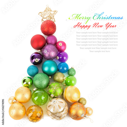 canvas print picture Christmas tree made of colored balls