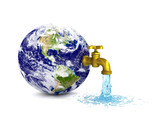 Pouring water from earth - eco concept