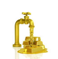 Water faucet pours gold, isolated on white