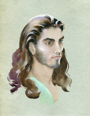 Watercolor portrait of young man. Hand painted illustration