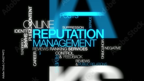 Reputation management web e-reputation word tag cloud animation