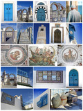 Tunis,Tunisia,collage,Sidi Bou Said