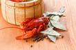 Close up of boiled crawfish