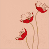 Vector red tulips
