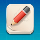 Vector icon of pencil on paper