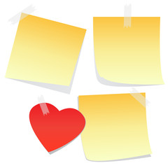 3 yellow notes and a heart