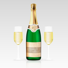 Glass and bottle of champagne. Vector illustration.