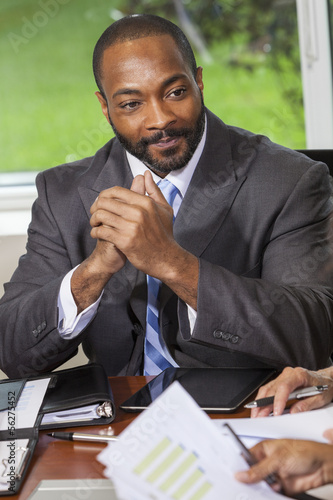 African American Businessman Man in Meeting
