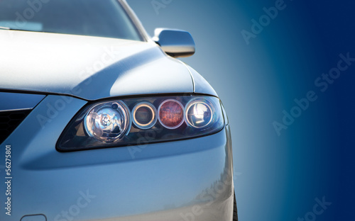 canvas print picture blue modern car closeup