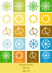 vector illustration of four seasons symbols