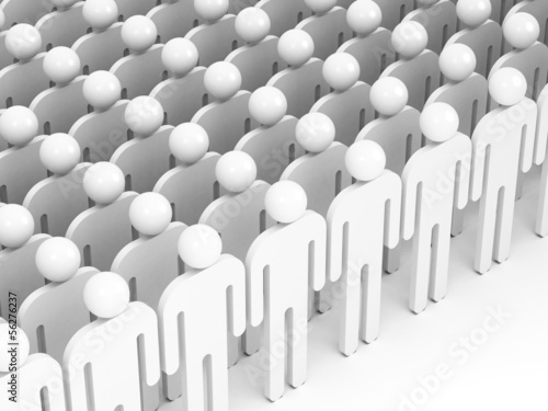 Crowd of abstract white people. 3d render illustration