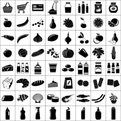 Set of supermarket symbols. Vector illustration