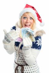 Weihnachtsfrau mit Geldscheinen