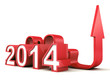red 2014 new year numbers with growing concept arrow