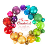 Fototapety Christmas wreath of colored balls