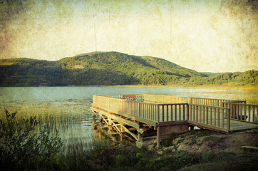 vintage distressed grunge effected lake view
