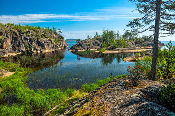 rocky islands of Ladoga lake