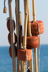 Particolare di alcuni galleggianti usati nella pesca