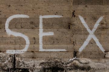 """Un murales in un vecchio con scritto """"sex"""""""