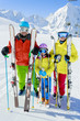 Skiing, skiers - family enyoing winter vacation