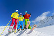 Skiing, winter, snow, skiers, sun and fun- family team