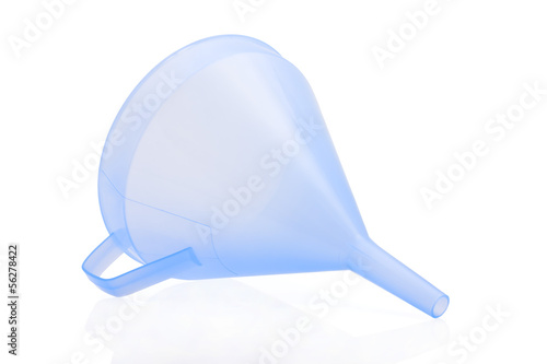 Blue funnel isolated on a white background.