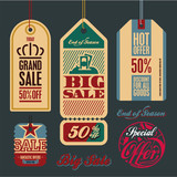 Sale tags. Vintage style tags and labels collection. Big sale.