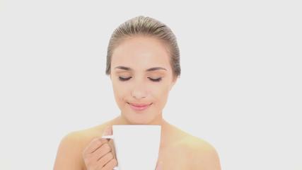 Beautiful model drinking mug of coffee