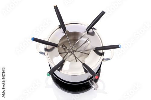 Fondue set isolated on a white background.
