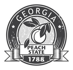Grunge stamp or label with name of Georgia, vector