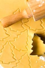 Baking christmas cookies dough rolling pin