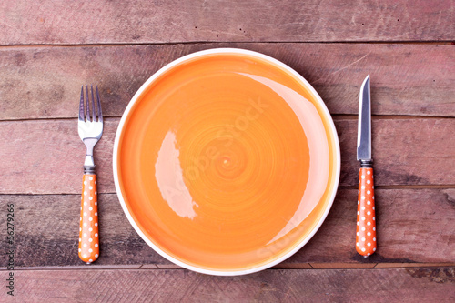 empty plate and fork, knife
