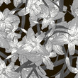 Seamless monochrome floral background with lilies