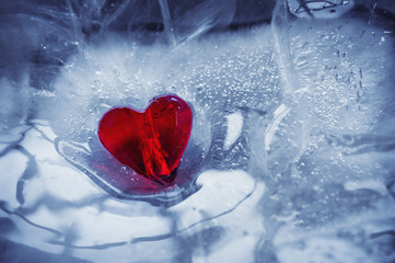 Glass heart is on the ice