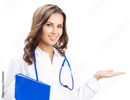 Doctor showing something, isolated