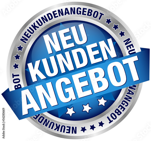 """Button Banner """"Neukundenangebot"""" blau/silber"""