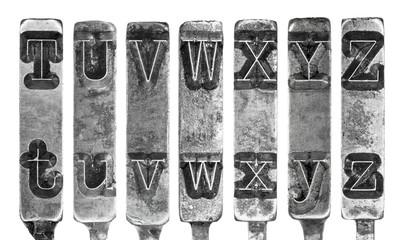 Old Typewriter Typebar Letters T toZ Isolated on White