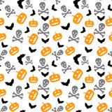 pumpkins, bats and skull