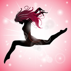 Jumping Girl with Pink reflections