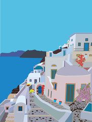 A Greek Village with winding streets  by the sea