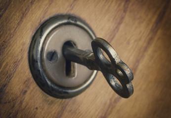 old key in the lock