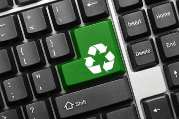 Conceptual keyboard - Recycling symbol (green key)