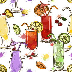Seamless pattern of vivid cocktails