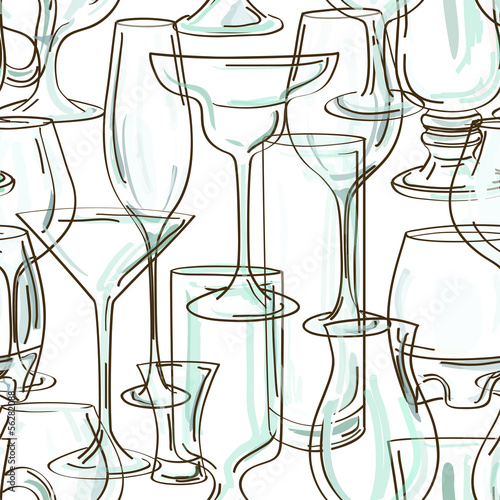 Seamless pattern of cocktail glasses © Annykos