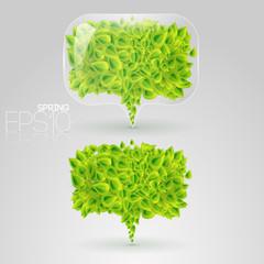 Speech bubbles of green leaves